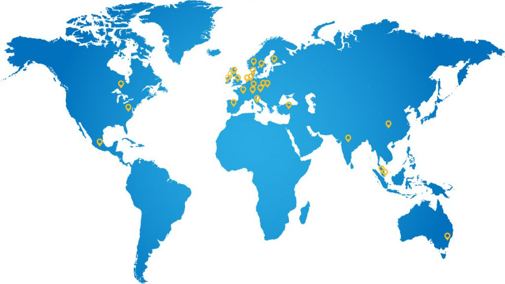 Map showing Robnor ResinLab distributors across Europe, Asia and the USA.